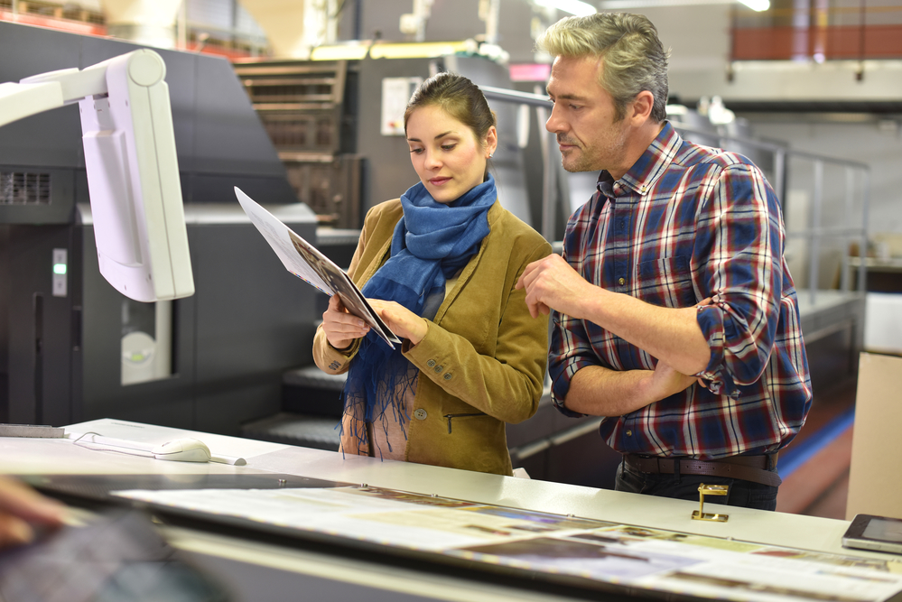 Magazine printing production team members